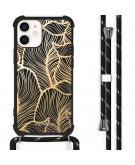 Design hoesje met koord voor de iPhone 12 Mini - Bladeren - Goud / Zwart