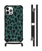 Design hoesje met koord voor de iPhone 12 (Pro) - Luipaard - Groen / Zwart