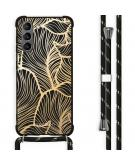 Design hoesje met koord voor de Samsung Galaxy S21 - Bladeren - Goud / Zwart