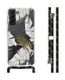 Design hoesje met koord voor Samsung Galaxy S21 Plus - Bladeren - Zwart / Goud