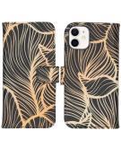 Design Softcase Book Case voor de iPhone 12 Mini - Golden Leaves