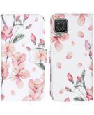 Design Softcase Book Case voor de Samsung Galaxy A12 - Blossom Watercolor White
