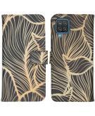 Design Softcase Book Case voor de Samsung Galaxy A12 - Golden Leaves