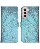 Design Softcase Book Case voor de Samsung Galaxy S21 - Bloesem