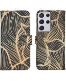 Design Softcase Book Case voor de Samsung Galaxy S21 Ultra - Golden Leaves