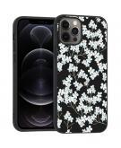 Design voor de iPhone 12 (Pro) hoesje - Bloem - Wit / Zwart
