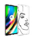 Design voor de Motorola Moto G9 Plus hoesje - Abstract Gezicht - Zwart