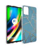 Design voor de Motorola Moto G9 Plus hoesje - Grafisch Koper - Blauw / Goud