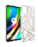 Design voor de Motorola Moto G9 Plus hoesje - Grafisch Koper - Wit / Goud