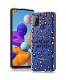 Design voor de Samsung Galaxy A21s hoesje - Luipaard - Bruin / Zwart