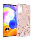 Design voor de Samsung Galaxy A32 (5G) hoesje - Grafisch Koper - Roze / Goud