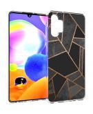 Design voor de Samsung Galaxy A32 (5G) hoesje - Grafisch Koper - Zwart / Goud