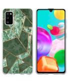Design voor de Samsung Galaxy A41 hoesje - Grafisch Koper - Groen / Goud