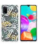 Design voor de Samsung Galaxy A41 hoesje - Jungle - Wit / Zwart / Groen