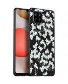 Design voor de Samsung Galaxy A42 hoesje - Bloem - Wit / Zwart