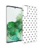 Design voor de Samsung Galaxy S21 Plus hoesje - Hartjes - Zwart
