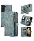 Luxe Lederen 2 in 1 Portemonnee Booktype voor de Samsung Galaxy S21 - Groen
