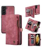 Luxe Lederen 2 in 1 Portemonnee Booktype voor de Samsung Galaxy S21 - Rood