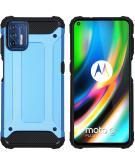 Rugged Xtreme Backcover voor de Motorola Moto G9 Plus - Lichtblauw